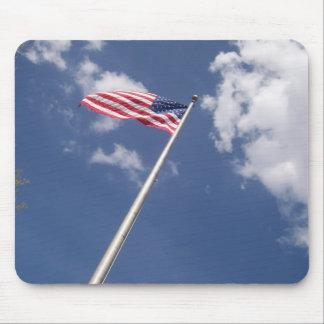 Unites States America Flag Blue Sky Clouds Mouse Pad
