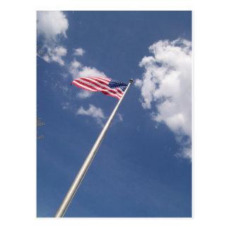 Unites States America Flag Blue Sky Clouds Postcard