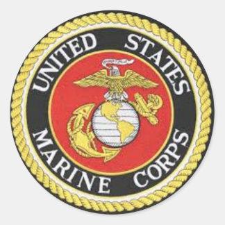 UNITES STATES MARINE CORPS ROUND STICKER