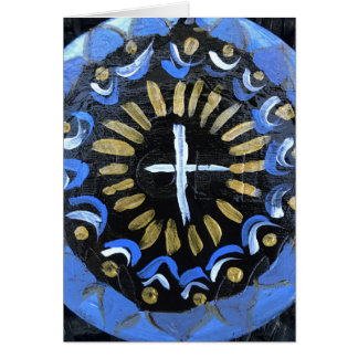 Unity Cross Mandala Blank Note Card, Blue & Gold Card