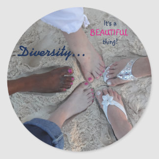 Unity! Ethnic Diversity Rum Point Cayman Islands Round Sticker