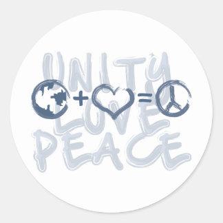 Unity + Love = Peace Round Sticker