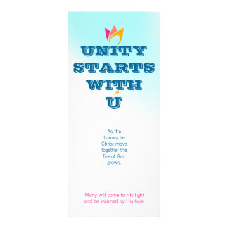 UNITY STARTS WITH U (orange to pink fire) & Logo 10 Cm X 23 Cm Rack Card