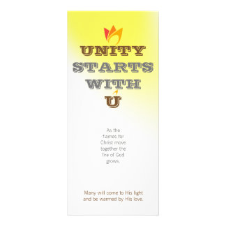 UNITY STARTS WITH U (orange to red fire) & Logo Full Colour Rack Card