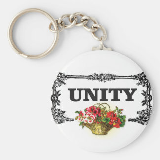 unity with flowers basic round button key ring