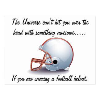 Universal Football helmet postcard