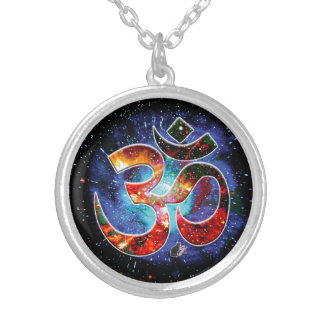 Universal OM Asana Silver Plated Necklace