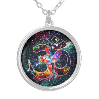 Universal OM Karma Silver Plated Necklace