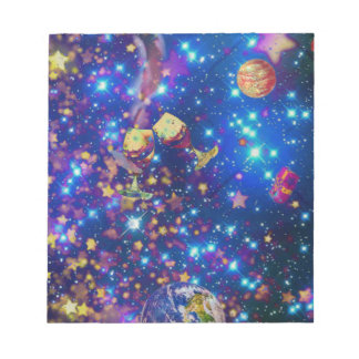 Universe and planets celebrate life with a tost.pn notepad