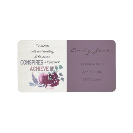 UNIVERSE CONSPIRES YOU TO ACHIEVE DEEP PINK FLORAL ADDRESS LABEL