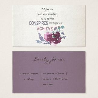 UNIVERSE CONSPIRES YOU TO ACHIEVE DEEP PINK FLORAL BUSINESS CARD