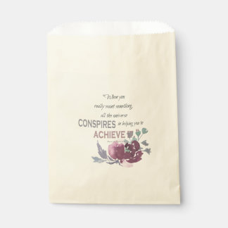 UNIVERSE CONSPIRES YOU TO ACHIEVE DEEP PINK FLORAL FAVOUR BAG