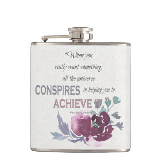 UNIVERSE CONSPIRES YOU TO ACHIEVE DEEP PINK FLORAL HIP FLASK