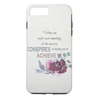 UNIVERSE CONSPIRES YOU TO ACHIEVE DEEP PINK FLORAL iPhone 7 PLUS CASE