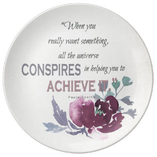 UNIVERSE CONSPIRES YOU TO ACHIEVE DEEP PINK FLORAL PLATE