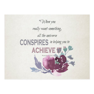 UNIVERSE CONSPIRES YOU TO ACHIEVE DEEP PINK FLORAL POSTCARD