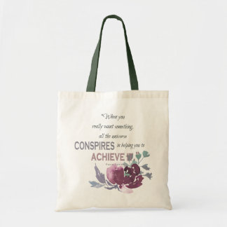 UNIVERSE CONSPIRES YOU TO ACHIEVE DEEP PINK FLORAL TOTE BAG