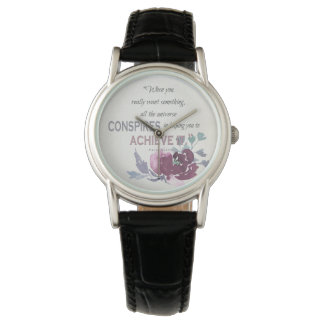 UNIVERSE CONSPIRES YOU TO ACHIEVE DEEP PINK FLORAL WRIST WATCHES