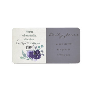 UNIVERSE CONSPIRES YOU TO ACHIEVE INK BLUE FLORAL ADDRESS LABEL