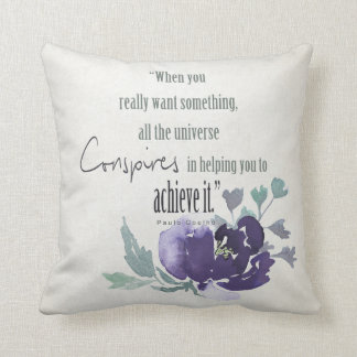 UNIVERSE CONSPIRES YOU TO ACHIEVE INK BLUE FLORAL CUSHION