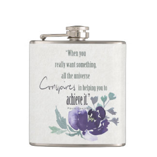 UNIVERSE CONSPIRES YOU TO ACHIEVE INK BLUE FLORAL HIP FLASK