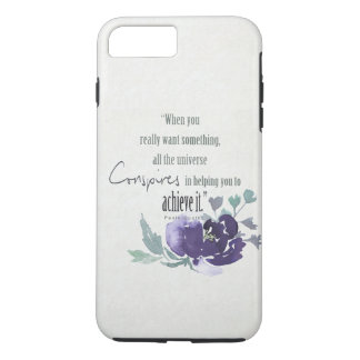 UNIVERSE CONSPIRES YOU TO ACHIEVE INK BLUE FLORAL iPhone 7 PLUS CASE