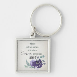 UNIVERSE CONSPIRES YOU TO ACHIEVE INK BLUE FLORAL KEY RING