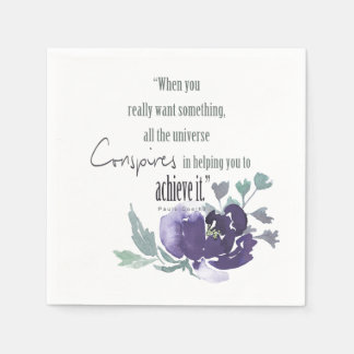 UNIVERSE CONSPIRES YOU TO ACHIEVE INK BLUE FLORAL PAPER NAPKIN