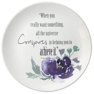 UNIVERSE CONSPIRES YOU TO ACHIEVE INK BLUE FLORAL PORCELAIN PLATE
