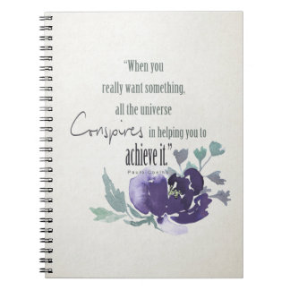 UNIVERSE CONSPIRES YOU TO ACHIEVE INK BLUE FLORAL SPIRAL NOTEBOOK