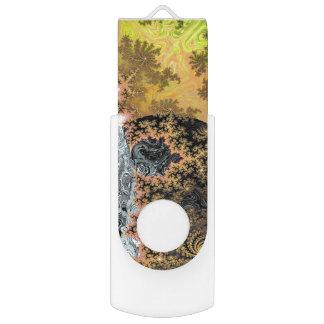 Universe Galaxy Black Bright Yellow Stars Fractal Swivel USB 3.0 Flash Drive