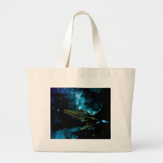 Universe with alien ship tote bags