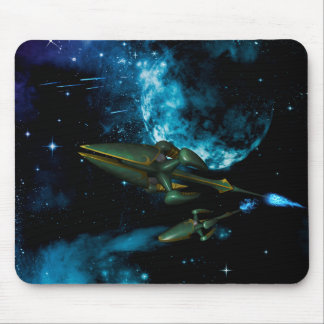 Universe with alien ship mouse pads