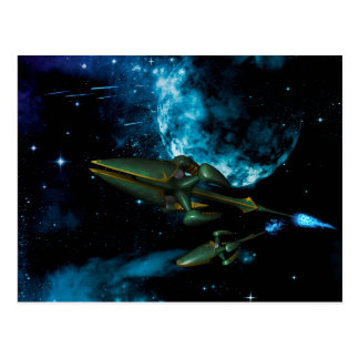 Universe with alien ship post card