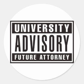 University Advisory Future Attorney Round Sticker