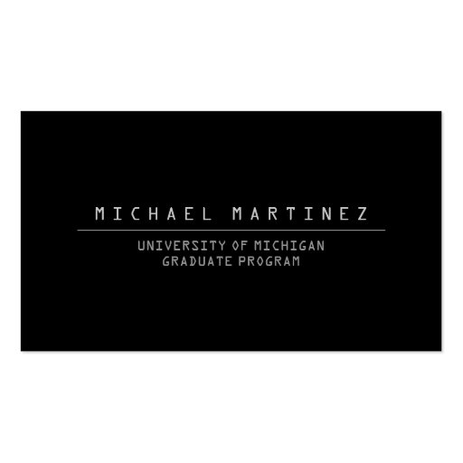 UNIVERSITY/COLLEGE STUDENT BLACK Business Card