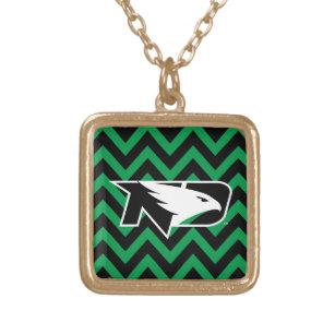 University of North Dakota Chevron Pattern Gold Plated Necklace