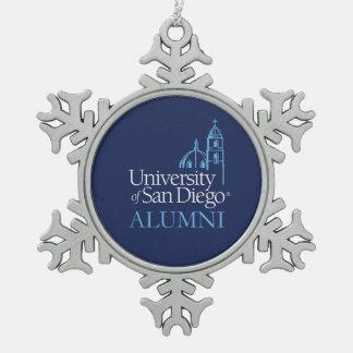 University of San Diego   Alumni Snowflake Pewter Christmas Ornament