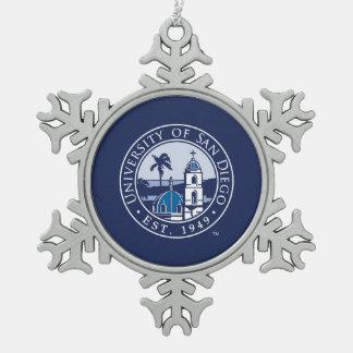 University of San Diego   Est. 1949 Snowflake Pewter Christmas Ornament