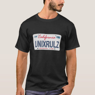 Unix Rules License Plate T-Shirt
