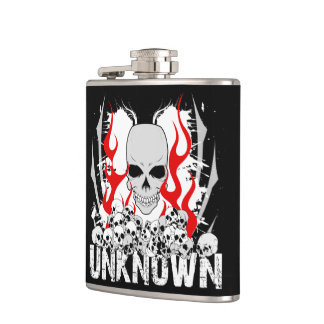 Unknown Stack of Skulls With Red Flames Hip Flask