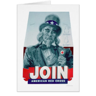 Unlce Sam Wears a Red Cross Button (US00291) Card