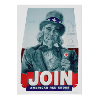 Unlce Sam Wears a Red Cross Button (US00291) Poster