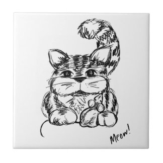 Unlikely Friends Cat and Mouse Ceramic Tile