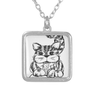 Unlikely Friends Cat and Mouse Silver Plated Necklace