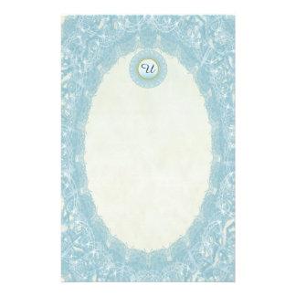 Unlined Monogram Blue I Wedding Lace Stationery