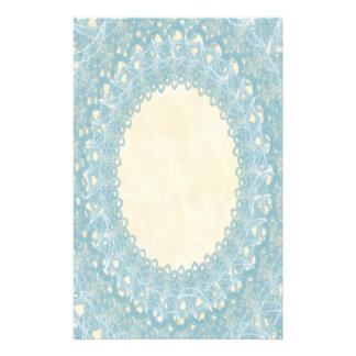 Unlined Monogram Blue IV Wedding Lace Stationery
