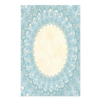 Unlined Monogram Blue IV Wedding Lace Stationery