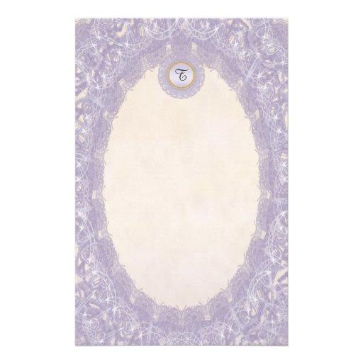 Unlined Monogram Purple I Wedding Lace Stationery