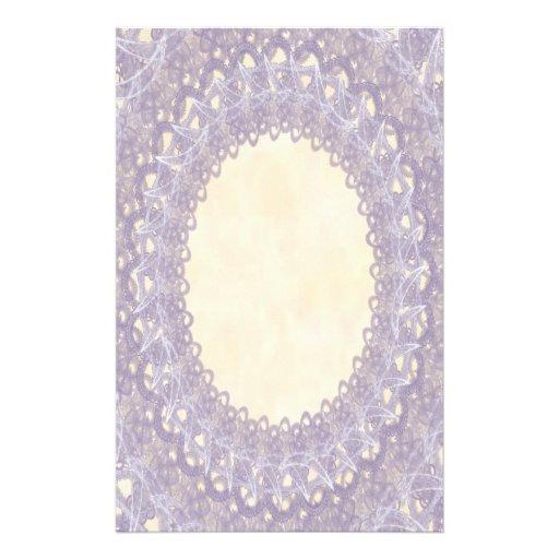 Unlined Monogram Purple IV Wedding Lace Stationery